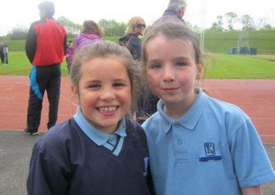 Knockea NS U.L. Athletics Competition 2 girls smiling